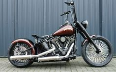 This bobber is created for a girl! We added a 200 rear tire, bobber front wheel, black rims, custom converted gastank, m . Bobber Motorcycle, Bobber Chopper, Cool Motorcycles, Harley Davidson Street, Harley Davidson Sportster, Bobber Style, Custom Harleys, Custom Bikes, Custom Cars