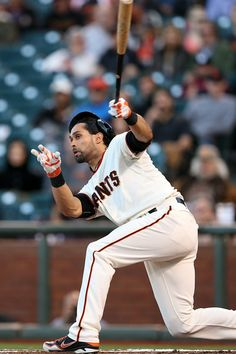 San Francisco Giants' Angel Pagan (16) swings against the Colorado Rockies in the first inning of their MLB game at AT&T Park in San Francisco, Calif., on Tuesday, Aug. 26, 2014. (Ray Chavez/Bay Area News Group)