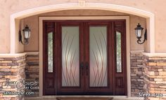 Sleek Arcs 3D in Color Private Glass Front Entry Doors