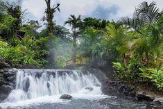 コスタリカ、アレナル国立公園の中にあるタバコン・リゾート(Tabacon Thermal Resort & Spa)は、40℃前後の温泉の川が流れ、滝の打たせ湯もあります。