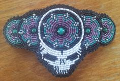 Steal your face beaded barrette with malachite centers