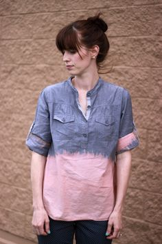 Bleach Dipped Chambray Top // seekatesew.com