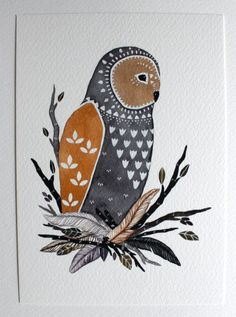 Owl Illustration Art Watercolor Painting Archival by RiverLuna