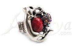 Запись Серебристый Красный Diamante Cat & Mouse Stretch Кольцо - avalaya.com