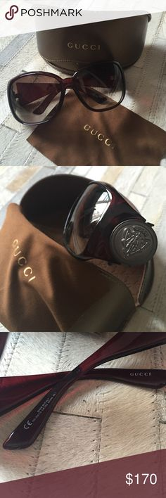 NEW! Gucci Oversized Glasses! Brand New Gucci Oversized Glasses. I cracked the originals and sent them to Safilo to be fixed. They ended up sending me a brand new pair! Brown Burgundy color with Pewter Gucci emblem. Guaranteed Authentic. Gucci Accessories Sunglasses