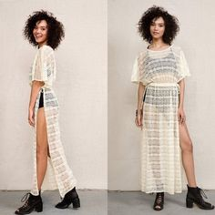 Crochet Lace Kimono Maxi Tunic Cream lace crochet kimono tunic with side slits. Perfect for the festival season! Get it soon so you can have it in time for Coachella! Size S/M. Brand new; never worn. Urban Outfitters Dresses Maxi
