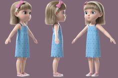 3D cartoon girl rigged - TurboSquid 1317956 Cartoon Girl Images, Girl Cartoon Characters, Female Cartoon, Cute Cartoon Girl, 3d Cartoon, Cartoon Kids, 3d Model Character, Game Character Design, Character Modeling