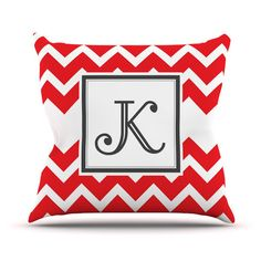 All Letters - Monogram Chevron Throw Pillows Now Available in Teal, Tan, Red & Green by KESS InHouse - Great Gift Idea on Etsy, $27.00