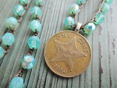 Starfish crochet necklace - Priceless in Seafoam - aqua sea green genuine coin summer surfer beach boho by slashKnots on Etsy, $45.00
