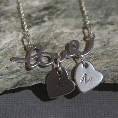 Silver Love Necklace with Initial Hearts - Initial, Personalized, Mother, Mom. $26.00, via Etsy.