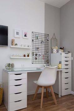 Bedroom Decor For Teen Girls, Room Ideas Bedroom, Teen Room Decor, Small Room Bedroom, Home Office Decor, Teen Bedroom Desk, Small Room Desk, Ikea Bedroom, Bedroom Office