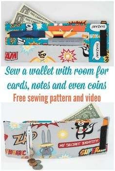 Great little wallet pattern that has it all. Free sewing pattern and video too.