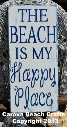 Beach Decor Sign 20 x 10 Wood Sign Hand Painted The Beach Is My Happy Place