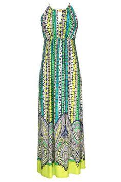 Green Paisley Border Dress