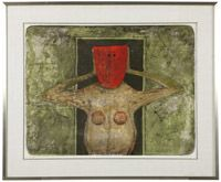 Lot# 1206 Rufino Tamayo (1899-1991 Mexican) ''Masque Rouge (Mascara Roja - Red Mask)'', color lithograph on paper under glass, paper size: 22.25'' H x 29.75'' W, est: $1500/2000 *Price Realized: $2,450.00