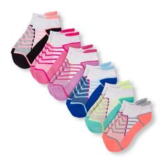 Girls Place Sport Mixed Stripes Cushioned Ankle Socks 6-Pack - Multi - The Children's Place
