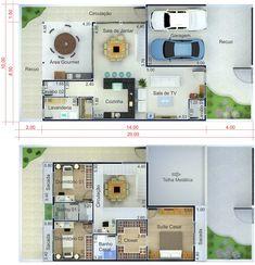 Plano de casa con techo integrado. Plano para terreno 10x20