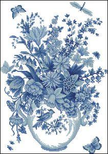 Blue flowers -free cross-stitch pattern | Cross-Stitch Club