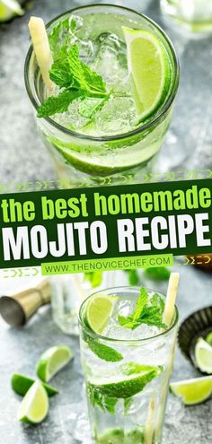 This make-ahead recipe for Mojito is the BEST! Thanks to a quick homemade simple syrup, the flavor of this New Year's Eve party drink is elevated to the next level. Learn all the tips on how to� More Cocktails For Parties, Refreshing Cocktails, Easy Cocktails, Classic Cocktails, Fun Drinks, Yummy Drinks, Cocktail Recipes, Healthy Drinks, Beverages