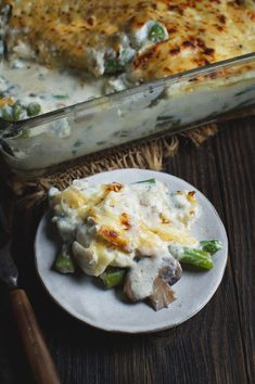 Low-Carb Green Bean and Mushroom Casserole on a plate.