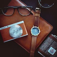 St Ives watch with light brown leather strap.