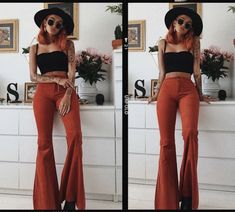 🧡 Up your flare game 🧡 🔍ZURA ribbed frill edge crop top 🔍HENNA corduroy extreme flared trousers 70s Outfits, Hippie Outfits, Mode Outfits, Cute Casual Outfits, Fall Outfits, Summer Outfits, Fashion Outfits, 70s Inspired Fashion, 70s Fashion