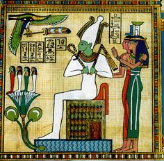 Funerary papyrus with Osiris on the throne. Behind Him are the Goddesses Isis & Nepthys.  Before Him on a lotus are the four sons of Horus, associated in some texts with the four directions.