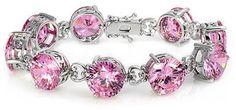Rita's Fine Large Round Cut Pink CZ Tennis Bracelet - Fantas... - Polyvore