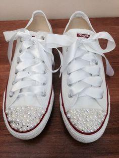 Pearl Converse / bridal converse / wedding converse/ bride converse / customised converse  / unique sneakers by CindersWish on Etsy https://www.etsy.com/listing/186726398/pearl-converse-bridal-converse-wedding