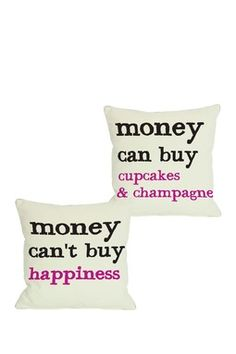 Money Cant Buy/Can Buy Reversible Pillow - 18 x 18
