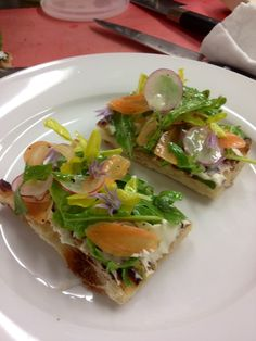 Chef Karangis's Spring Salad Pizza with Preserved Black Truffle and Local Goat Cheese #pizza