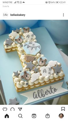 Baby Boy Cakes, Cakes For Boys, Baby Shower Cakes, Fondant Cake Designs, Fondant Cakes, Cupcake Cakes, Button Cake, Baby First Birthday Cake, Number Cakes