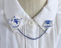Tea Set Collar Clips [sweater clips pins collar chain brooches]