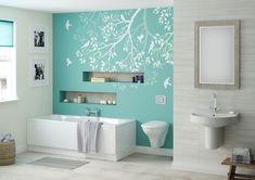 Aqua feature wall - Betta Living Libra bathroom,Dream Home,For the Home,for the home Dream House, Pastel Bathroom, Turquoise Bathroom, Turquoise Walls, Bedroom Turquoise, Kid Bathroom Decor, Guest Bathrooms, Small Bathroom, Painted Bathrooms, Seaside Bathroom