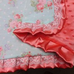 Country chic baby blanket coral minky baby by SprinkledWithKisses