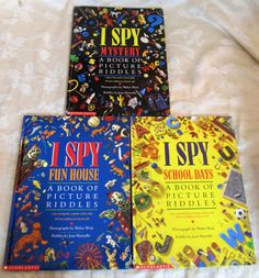Lot of 3 I Spy Fun House School Days Mystery Book of Picuture Riddles HC