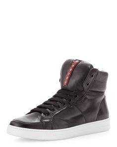 Avenue Leather High-Top Sneaker, Black by Prada at Bergdorf Goodman.
