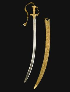 """A RARE AND MAGNIFICENT PRESENTATION SWORD WITH DIAMOND-SET GOLD HILT AND SCABBARD MADE FOR THE OCCASION OF THE SILVER JUBILEE OF OSMAN ALI KHAN, ASAF JAH, THESEVENTH NIZAM OF HYDERABAD, """"THE RICHEST MAN IN THE WORLD"""", INDIA, DATED 1355 AH/1937 AD"""
