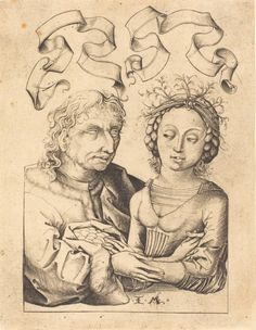 ab. 1480-1490 Israhel van Meckenem after Master of the Housebook - The Foolish Old Man and the Young Girl