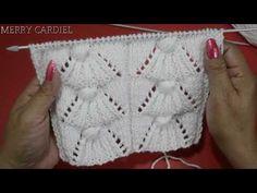 COMO TEJER PUNTO ABANICOS EN RELIEVE CON PUNTO PUFF - YouTube Intarsia Knitting, Baby Sweater Knitting Pattern, Lace Knitting Patterns, Knitting Stitches, Puff Stitch Crochet, Crochet Baby, Knit Crochet, Crochet Freetress, Knitting Videos
