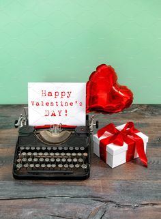 Typewriter with red heart balloon and gift box. Happy Valentines Day Please look here for more Holidays pictures: Please look here for more Valentines Day Happy Valentines Day Wishes, Valentines Day Pictures, Holiday Pictures, Balloon Gift, Heart Balloons, Typewriter, Lily, Creative, Valentino