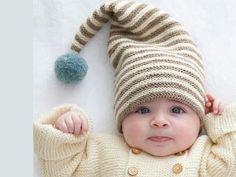 Voilà de quoi tenir chaud à votre lutin cet hiver ! Un joli bonnet et son pompon à tricoter de a taille préma à 6 mois.