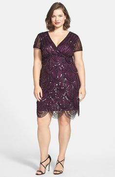 1920s Style Plus Size Cocktail Dress - Plus Size Women's Marina Beaded Empire Waist Dress