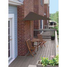 Blue Star Group Terrace Mates Caleo Premium 5-Piece Patio Bistro Set with 9 ft. Chocolate Sunbrella Half-Umbrella