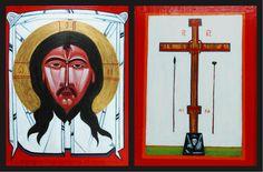tomasz biłka op, Mandylion (wg Nowosielskiego), odwrocie Arma Christi, akryl na desce, ok. 40x30 cm, 2007.