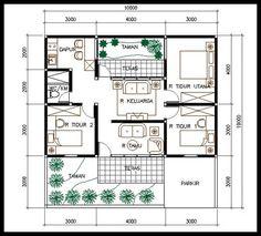 5 denah rumah minimalis type 45