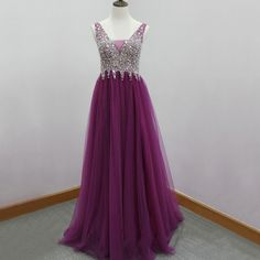 Purple Backless Prom Dresses with Sweep Train, Glittering