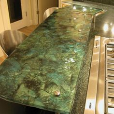Design Caller ~ Selected Spaces: For the Kitchen: Glass Countertops and Glass Backsplashes Recycled Glass Countertops, Concrete Countertops, Kitchen Countertops, Counter Design, Stained Concrete, Concrete Table, Glass Kitchen, Ideal Home, Home Improvement