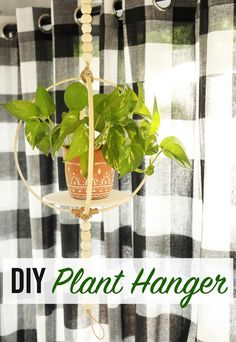 How to make a DIY plant hanger using embroidery hoops and Beacon Adhesives Power-Tac. 20 minute craft to make a boho plant hanger. #Ad #MadeWithBeacon