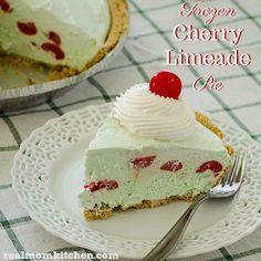 Frozen Cherry Limeade Pie | realmomkitchen.com #nationalcherrydessertday